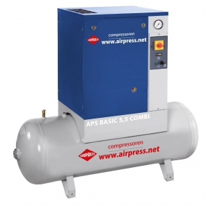 AIRPRESS KOMPRESOR ŚRUBOWY APS 5,5 BASIC COMBI 200L 36905 470L/MIN 10 bar
