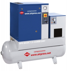 AIRPRESS KOMPRESOR ŚRUBOWY APS 7,5 BASIC COMBI DRY 200L 36957 600L/MIN 10 bar